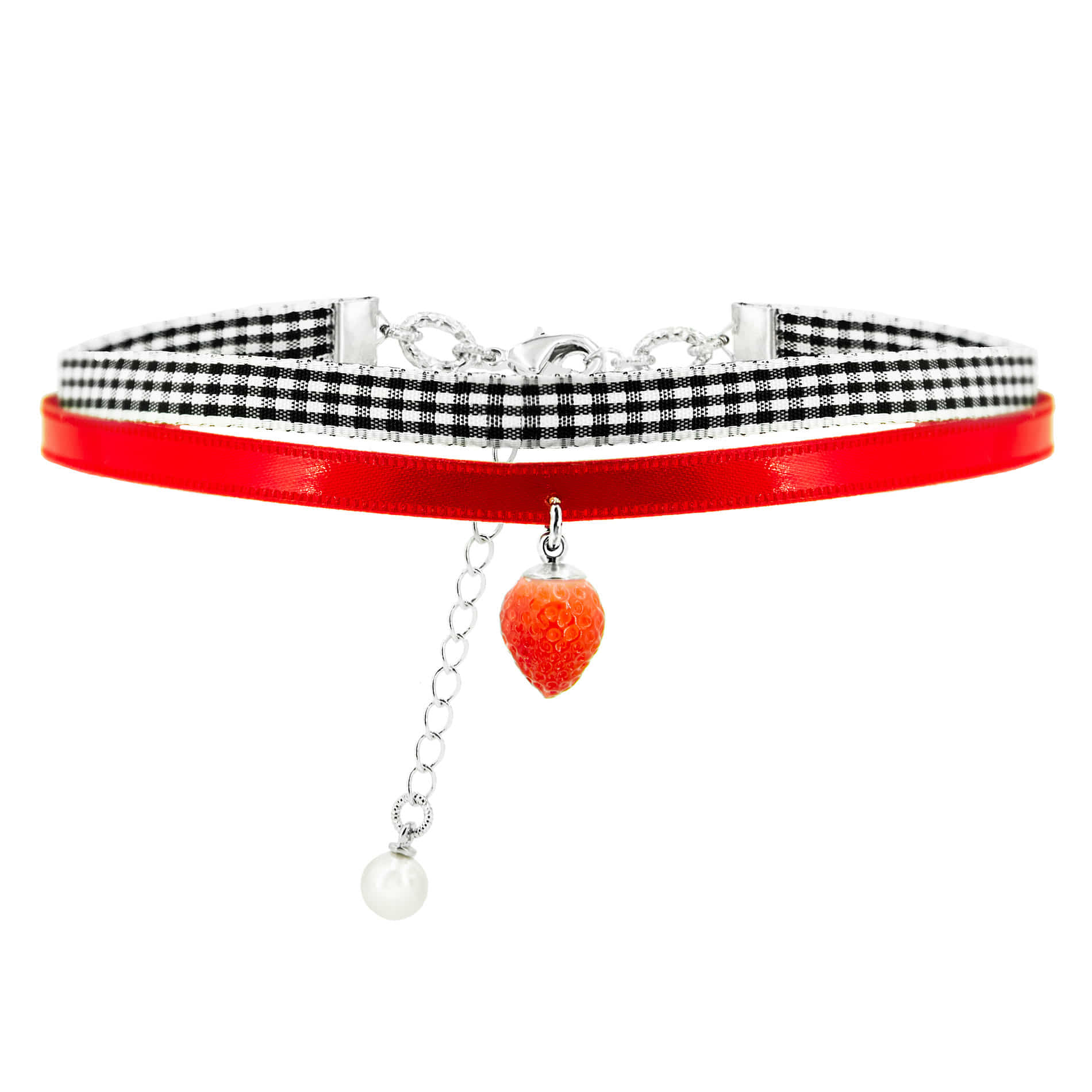 MINI STRAWBERRY DROP CHOKER NECKLACE
