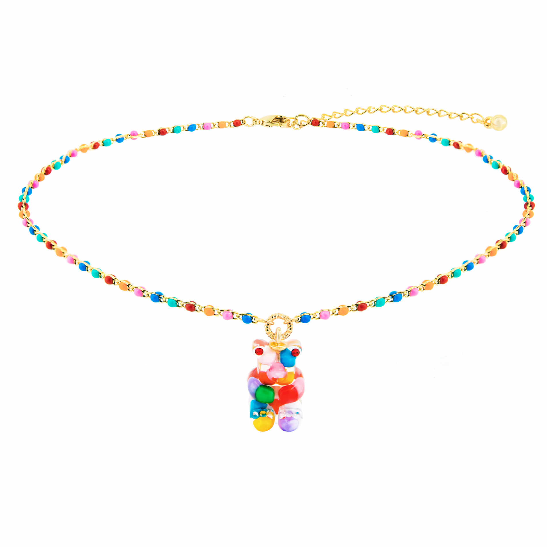 GUMMY BEAR DOT CHOKER NECKLACE (MULTI VIVID)