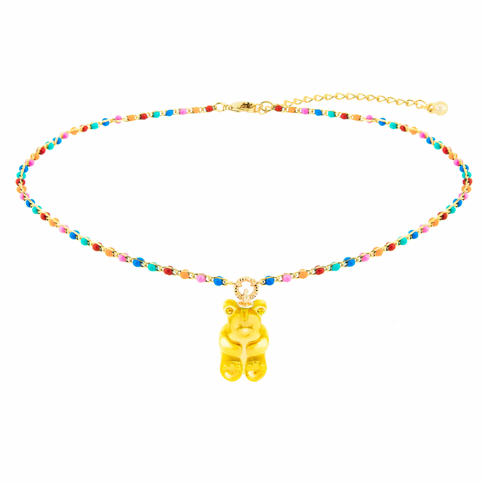 GUMMY BEAR DOT CHOKER NECKLACE (YELLOW)