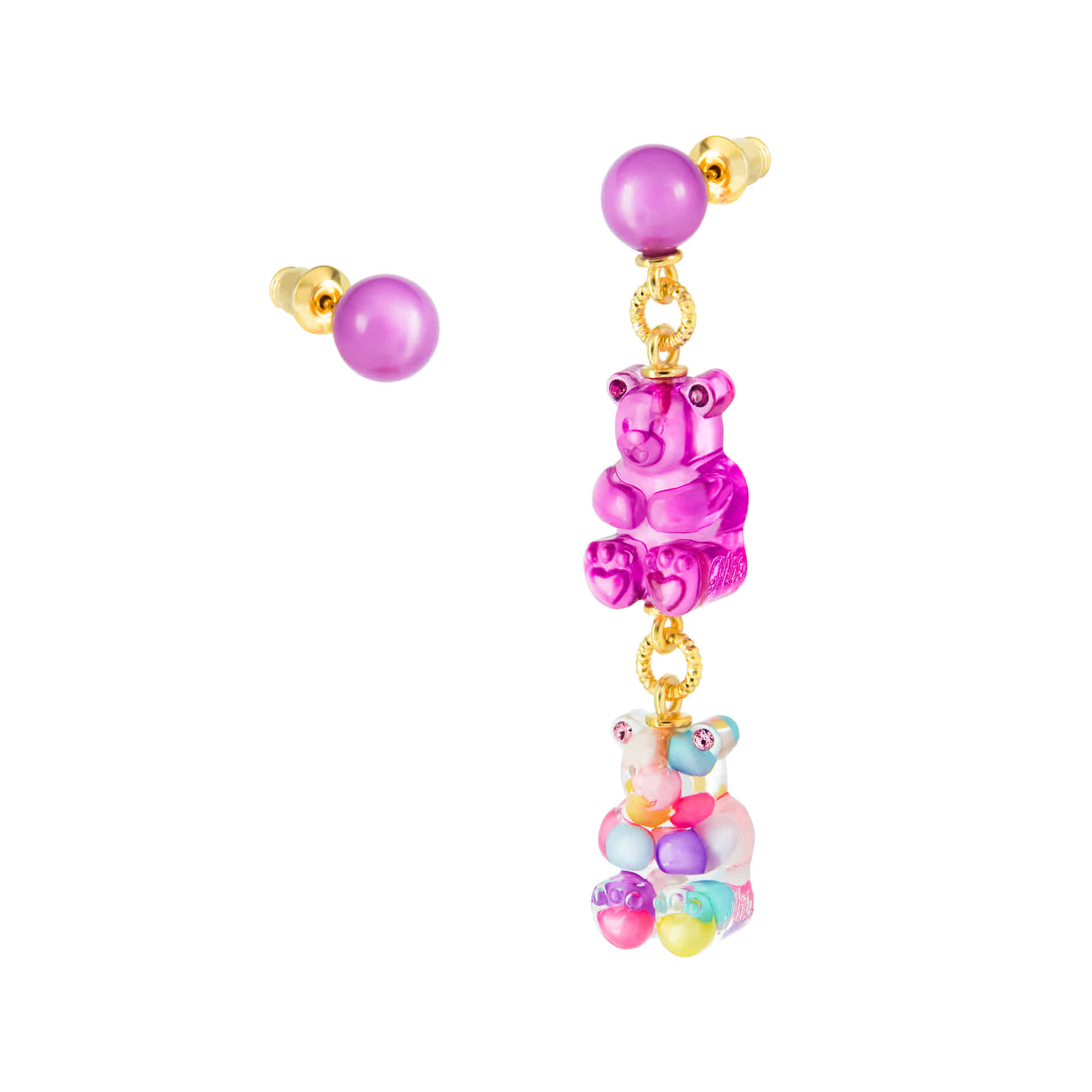 GUMMY BEAR CANDY BALL DROP EARRINGS (MULTI PASTEL)