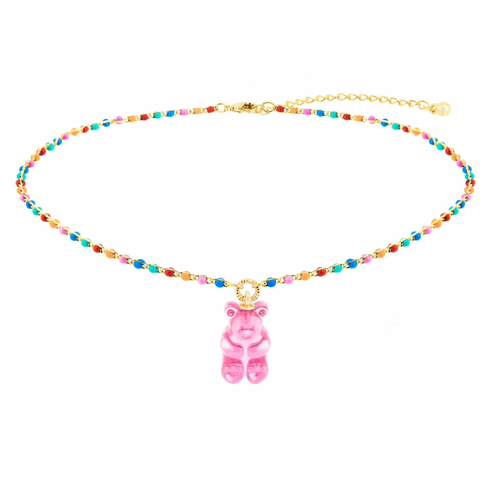 GUMMY BEAR DOT CHOKER NECKLACE (PINK)
