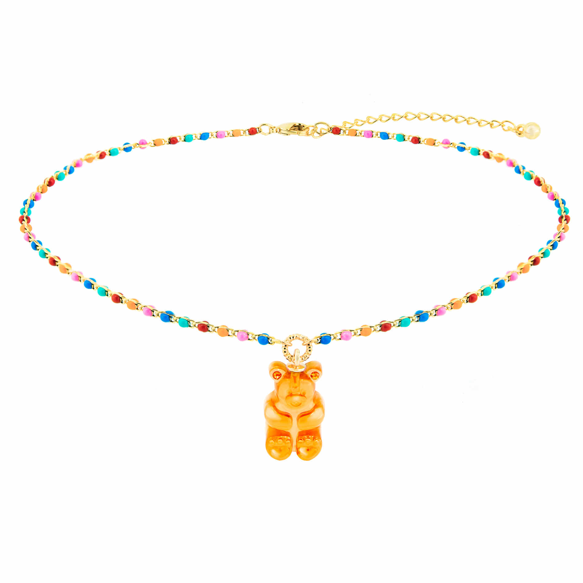 GUMMY BEAR DOT CHOKER NECKLACE (ORANGE)