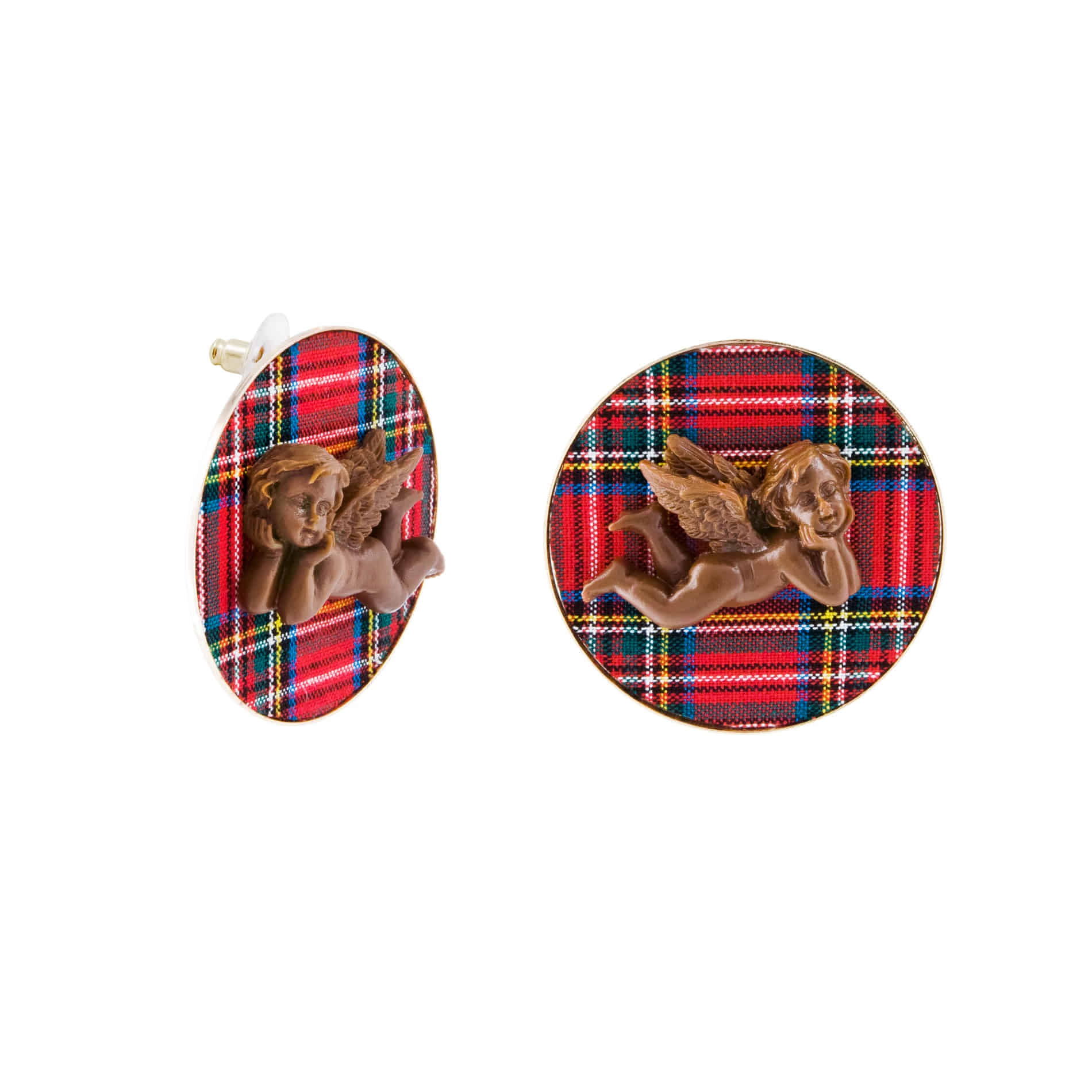 MILK CHOCOLATE ANGEL STUD EARRINGS (RED)