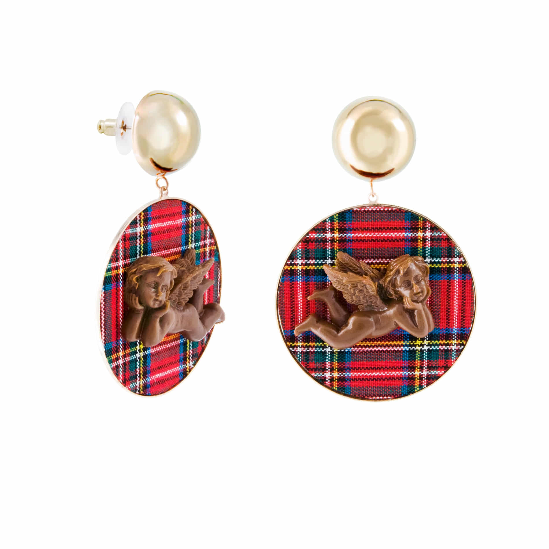 MILK CHOCOLATE ANGEL DROP EARRINGS (RED)