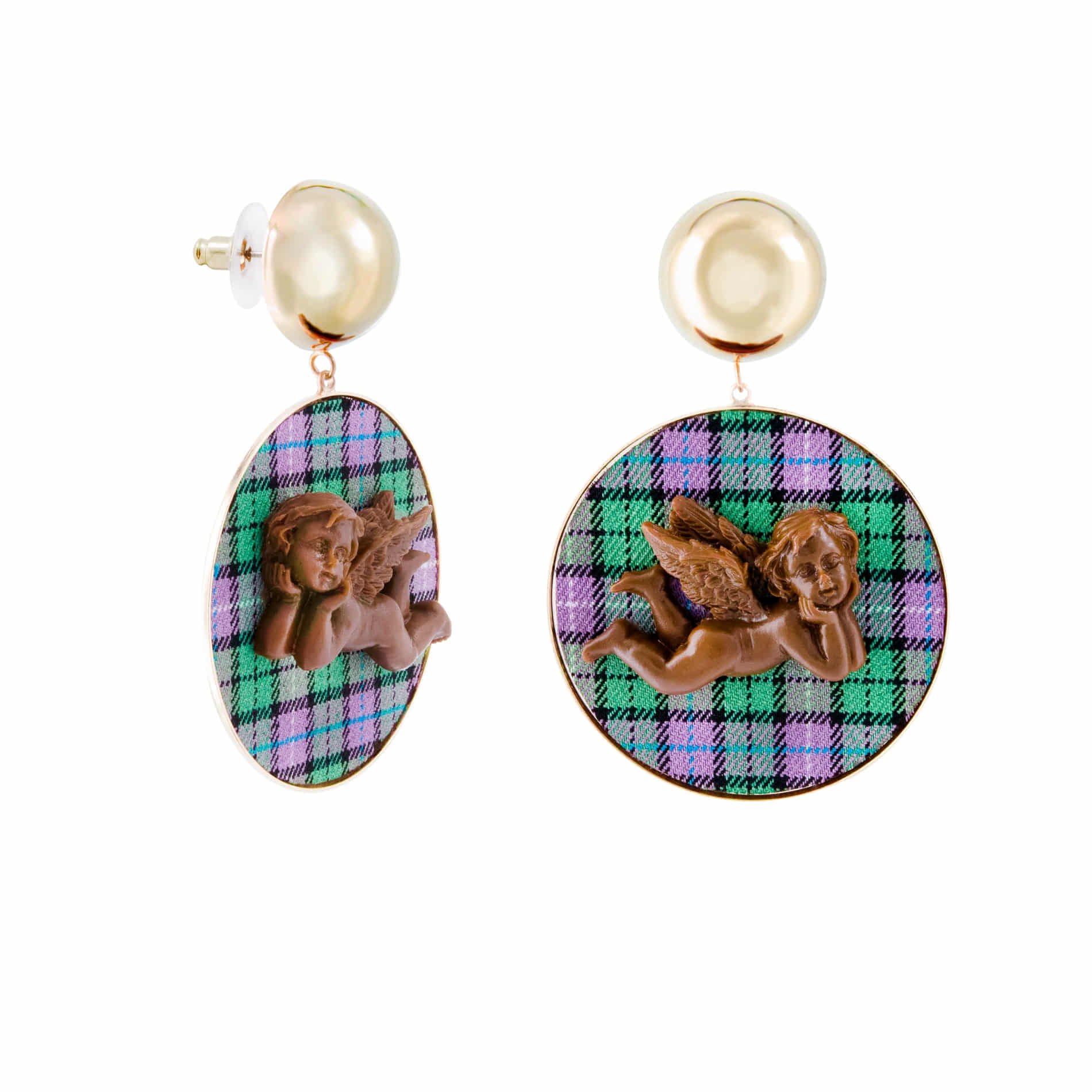 MILK CHOCOLATE ANGEL DROP EARRINGS (GREEN)