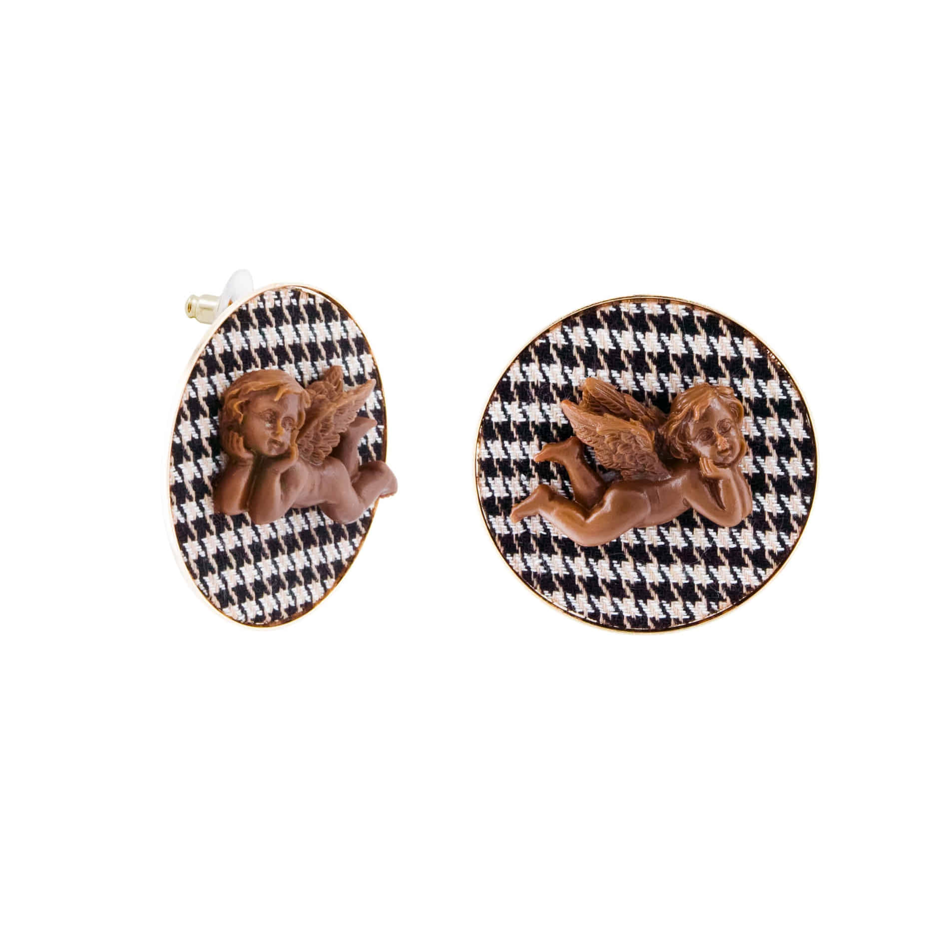 MILK CHOCOLATE ANGEL STUD EARRINGS (BLACK)